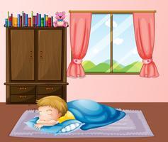 Liten pojke sover på mattan vektor