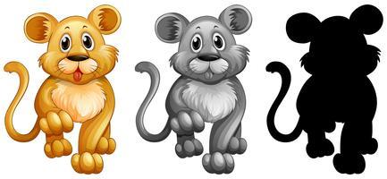 Set med lejonkaraktär vektor