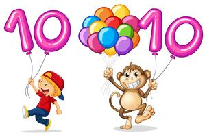 Pojke och apa med ballong för nummer 10 vektor