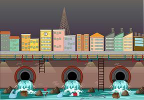 Vattenförorening från stadens avlopp vektor