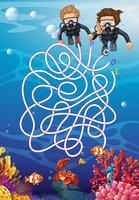Unterwasser mit Taucherlabyrinthkonzept vektor
