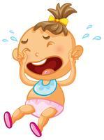 Baby tjej gråta på vit bakgrund