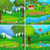 Vier Hintergrundszenen von Obstgärten und Wäldern