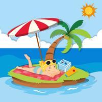 Tjej njuter av sommaren på ön