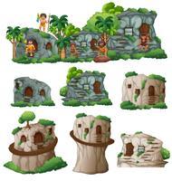 Höhlenmenschen und Häuser in den Bergen vektor