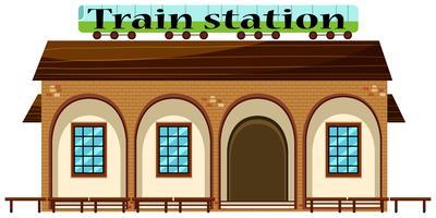 En järnvägsstation på vit bakgrund