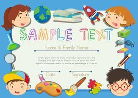 Zertifikat mit Kindern im Hintergrund vektor