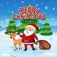 Weihnachtsmann und Hirsch im Schnee vektor