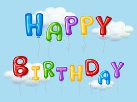 Grattis på födelsedagskort med färgglada ballonger vektor