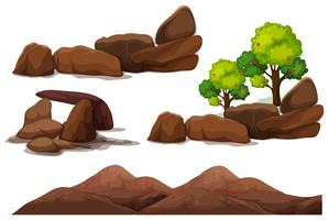 Rock Stone und Mountain Element vektor