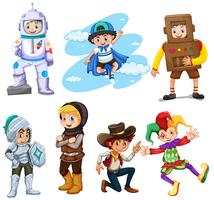 Jungen in verschiedenen Kostümen vektor