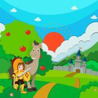 Riddare och häst på landet vektor