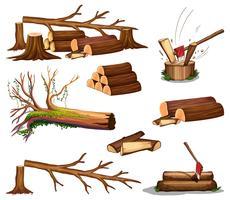 Eine Reihe von Holz geschnitten vektor