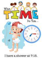 En pojke dusch klockan 7:15 vektor