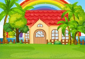 Enkelt hus med grön gräsmatta vektor
