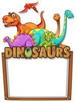 Banner-Vorlage mit vielen Dinosauriern