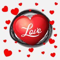 Velentine Kartenschablone mit roten Herzen auf Weiß