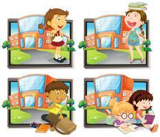 Fyra scener av student i skolan vektor