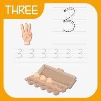 Nummer drei, die Alphabet-Arbeitsblätter verfolgen