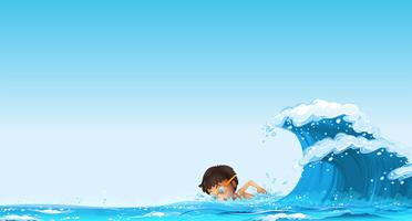 Pojke som simmar i havet vektor