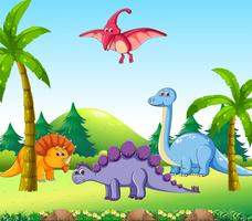 Olika dinosaurier i naturen