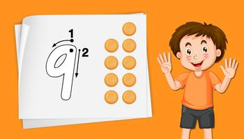 Junge mit Nummer neun Arbeitsblättern vektor