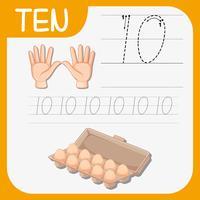 Nummer zehn Arbeitsblätter zur Ablaufverfolgung