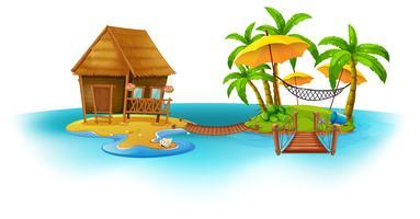 Trähus på ön vektor