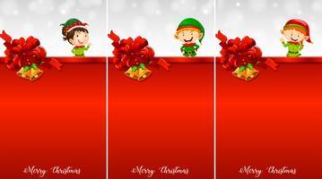 Vorlage mit drei Hintergrund mit Weihnachtserhöhungen vektor