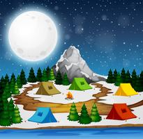 En campingplats på natten vektor