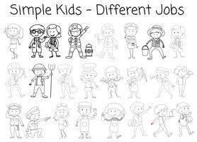 Uppsättning doodle karaktär