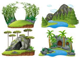 Vier Szenen mit Bergen und Bäumen