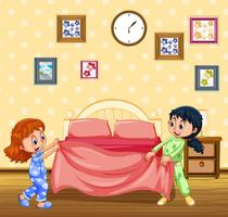 Barn gör säng på morgonen
