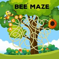 lustiges Bienenlabyrinthkonzept vektor