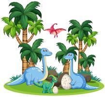 Dinosaurier in der Naturschablone vektor