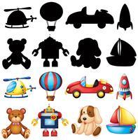 Nette Spielwaren und Schattenbild auf weißem Hintergrund