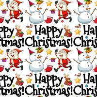 Sömlös bakgrundsmall med Santa och snowman vektor