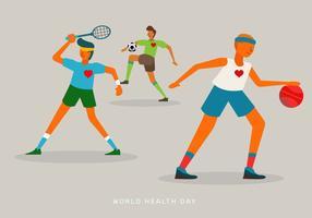 Leute, die Sport auf Weltgesundheits-Tagesvektor-Illustration tun
