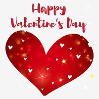 Valentinsgrußkartenschablone mit glänzendem Herzen vektor