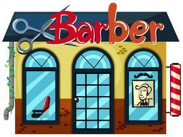 En frisörsbutik på vit bakgrund