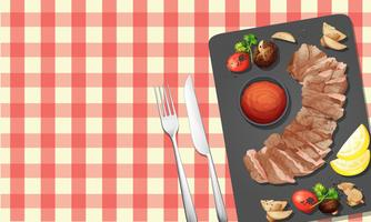 Steak und Sauce auf Teller