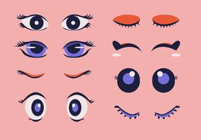 Ögonfransar Clipart Set Cartoon Vector Illustration