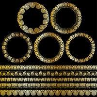 Metallic Gold Griechische ornamentale Kreisrahmen und Bordürenmuster vektor