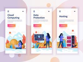 Set von Onboarding-Bildschirmen für die Benutzeroberfläche für Cloud Computing, Schutz, Hosting, Mobile App-Vorlagen Moderner UX, UI-Bildschirm für mobile oder responsive Website. Vektor-illustration