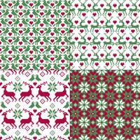 sömlösa nordiska renar och fågelmönster vektor