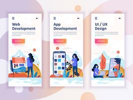 Set Onboarding-Bildschirme für die Benutzeroberfläche für Web- und App-Entwicklung, UI-Design, Konzept für mobile App-Vorlagen Moderner UX, UI-Bildschirm für mobile oder responsive Website. Vektor-illustration