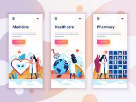 Set Onboarding Screens User Interface Kit für Medizin, Gesundheitswesen, Apotheke, Mobile App-Vorlagen-Konzept Moderner UX, UI-Bildschirm für mobile oder responsive Website. Vektor-illustration
