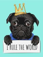 svart pug hund hållande skylt och krona