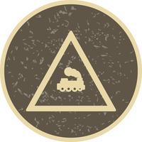 Vektor-Ebene, die Zug-Verkehrsschild-Ikone kreuzt