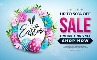 Ostern-Verkaufs-Illustration mit Farbe gemaltem Ei und Frühlingsblume auf blauem Hintergrund. vektor
